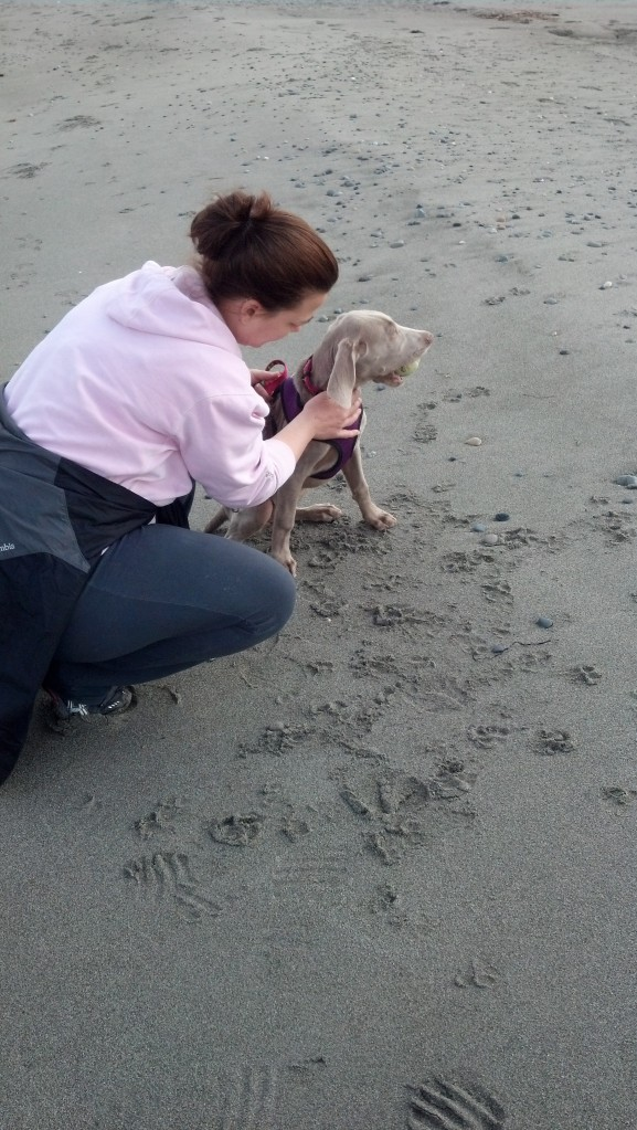Bella and her Mom at the beach