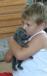 Nick with a puppy